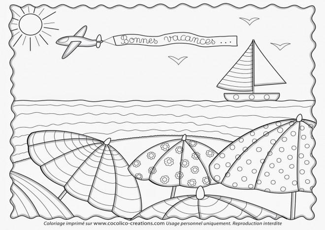 Coloriage et dessins gratuits La Plage et La Vacance à imprimer