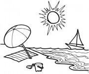 Coloriage et dessins gratuit La Plage et le Soleil à imprimer
