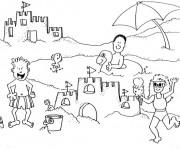 Coloriage et dessins gratuit La Plage et les Vacanciers à imprimer
