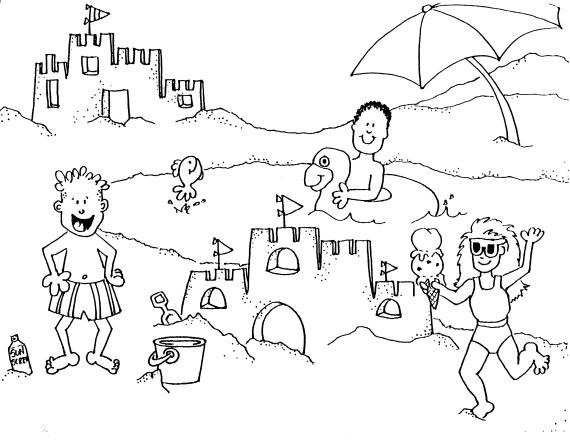 Coloriage et dessins gratuits La Plage et les Vacanciers à imprimer