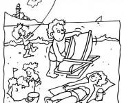 Coloriage et dessins gratuit La Plage et Mer en été à imprimer