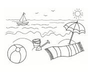 Coloriage et dessins gratuit La Plage stylisé à imprimer
