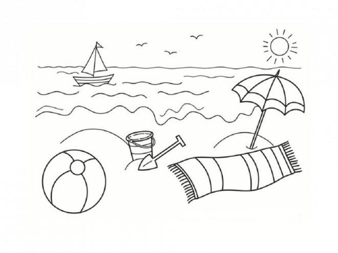 Coloriage et dessins gratuits La Plage stylisé à imprimer