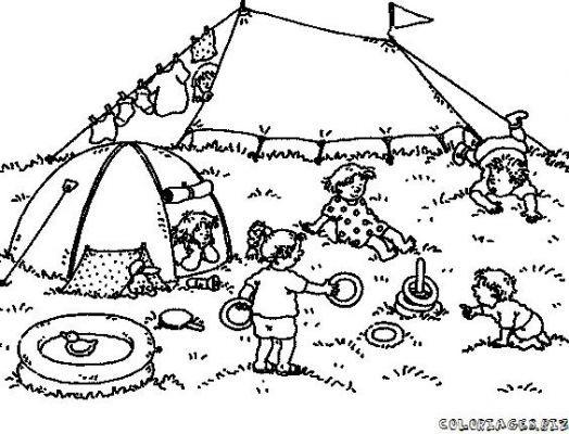 Coloriage et dessins gratuits La tente et La Plage à imprimer