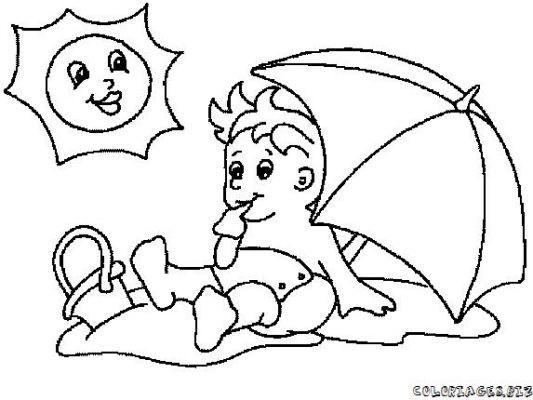Coloriage et dessins gratuits Le Bébé aimable sur La Plage à imprimer