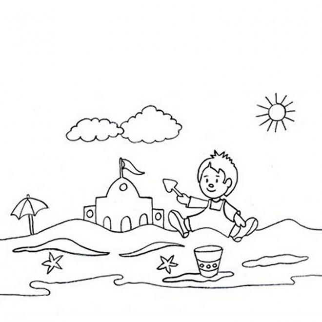 Coloriage et dessins gratuits Le Petit amusé sur La Plage à imprimer