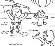 Coloriage et dessins gratuit Les Enfants s'amusent dans l'eau à imprimer