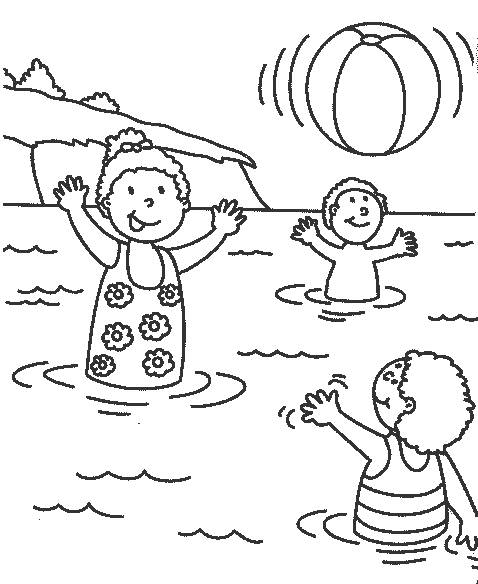 Coloriage et dessins gratuits Les Enfants s'amusent dans le lac à imprimer
