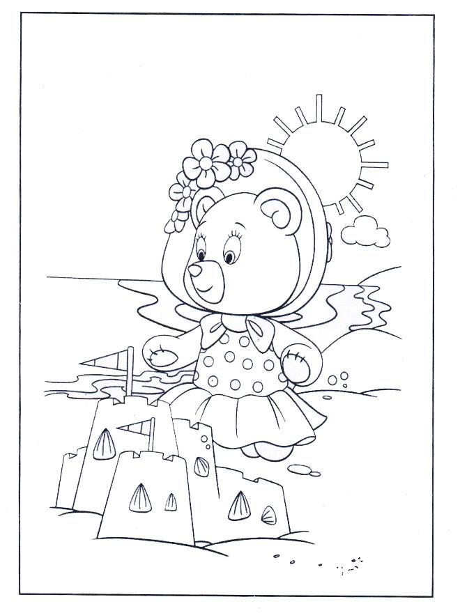 Coloriage et dessins gratuits Petit Ours et La Plage à imprimer