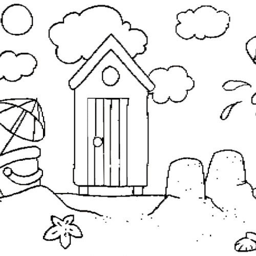 Coloriage et dessins gratuits Petite maison à La Plage à imprimer