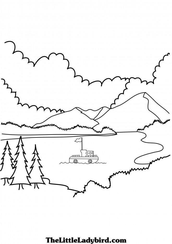Coloriage et dessins gratuits Bateau au bord du Lac à imprimer