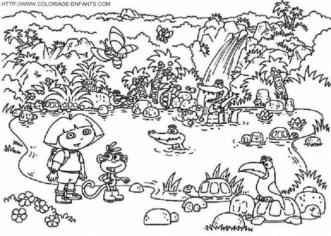 Coloriage et dessins gratuits Dora et Les Animaux sur Le Lac à imprimer