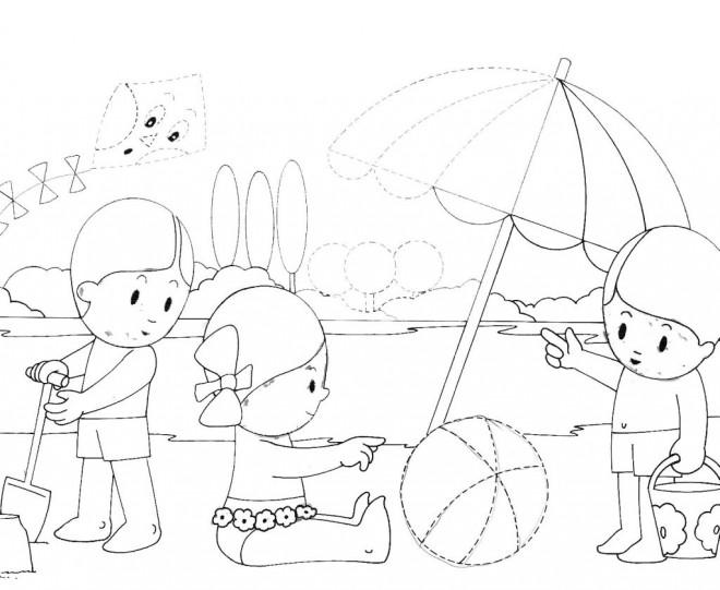 Coloriage et dessins gratuits Enfants s'amusent sur Le Lac à imprimer