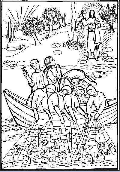 Coloriage et dessins gratuits Jésus sur Le Lac à imprimer