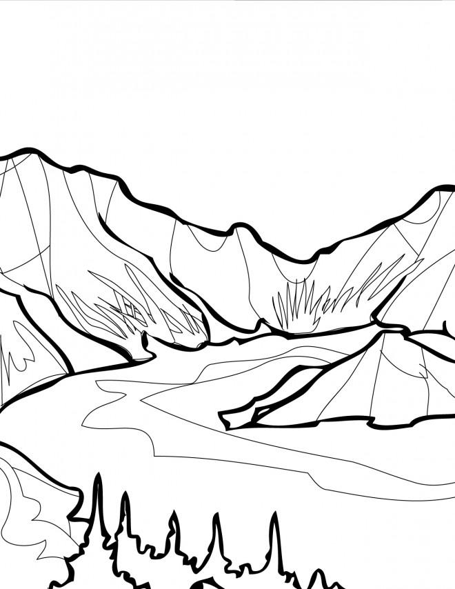 Coloriage et dessins gratuits Lac et Montagne à imprimer