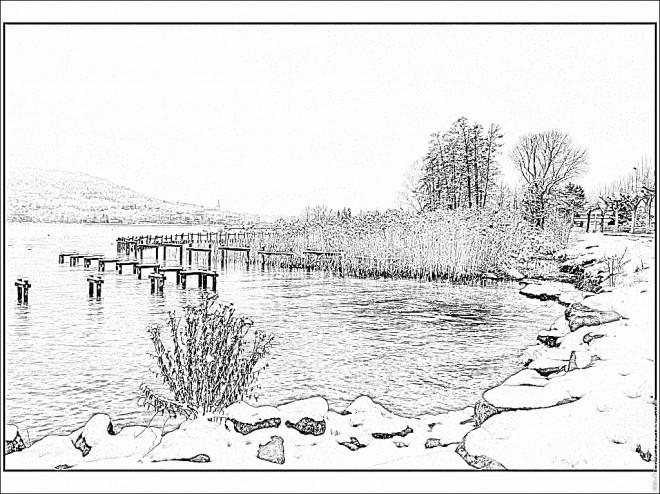 Coloriage et dessins gratuits Lac réaliste à imprimer