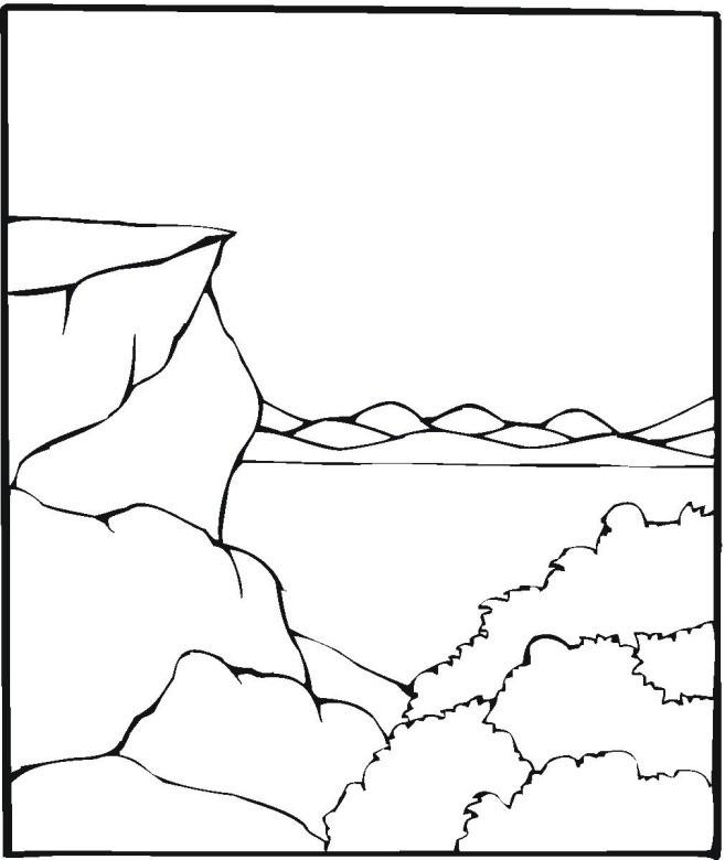 Coloriage et dessins gratuits Paysage de La Montagne et Le Lac à imprimer