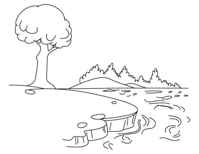 Coloriage et dessins gratuits Paysage du Lac à imprimer