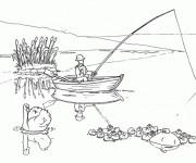 Coloriage Un pêcheur jette sa Canne à pêche
