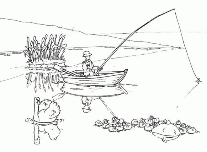 Coloriage et dessins gratuits Un pêcheur jette sa Canne à pêche à imprimer