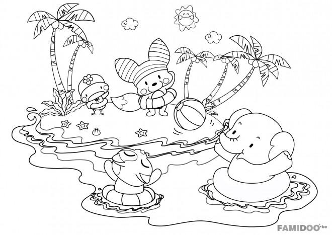 Coloriage les animaux sur la plage dessin gratuit imprimer - Coloriage plage ...