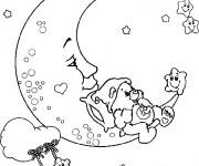 Coloriage et dessins gratuit Bisounours sur La lune à imprimer
