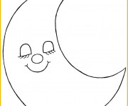 Coloriage et dessins gratuit Croissant de Lune en dormant à imprimer