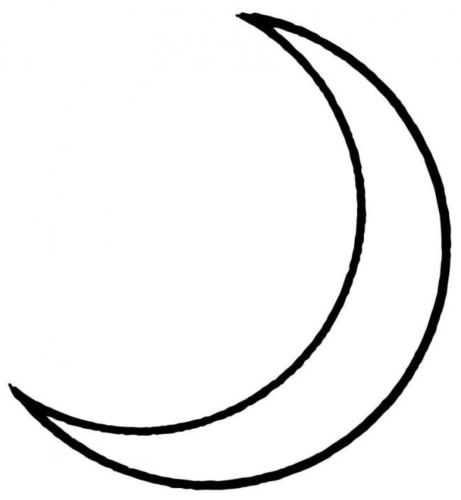 Coloriage Croissant De Lune En Noir Et Blanc Dessin Gratuit A Imprimer