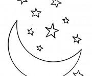 Coloriage Croissant de Lune et Étoiles