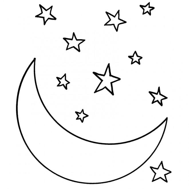 Coloriage croissant de lune et toiles dessin gratuit imprimer - La lune coloriage ...