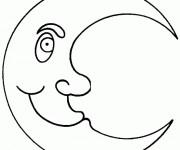 Coloriage et dessins gratuit Croissant de Lune maternelle à imprimer