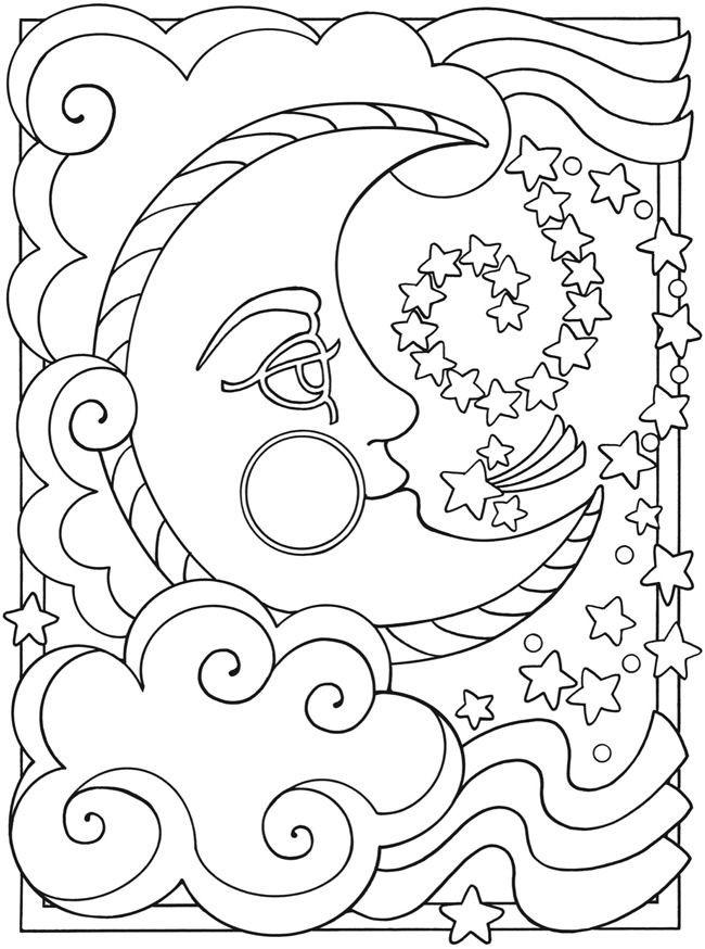 Coloriage Croissant et Étoiles mandala dessin gratuit à imprimer