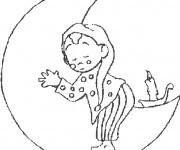 Coloriage et dessins gratuit Enfant dort sur La Lune à imprimer