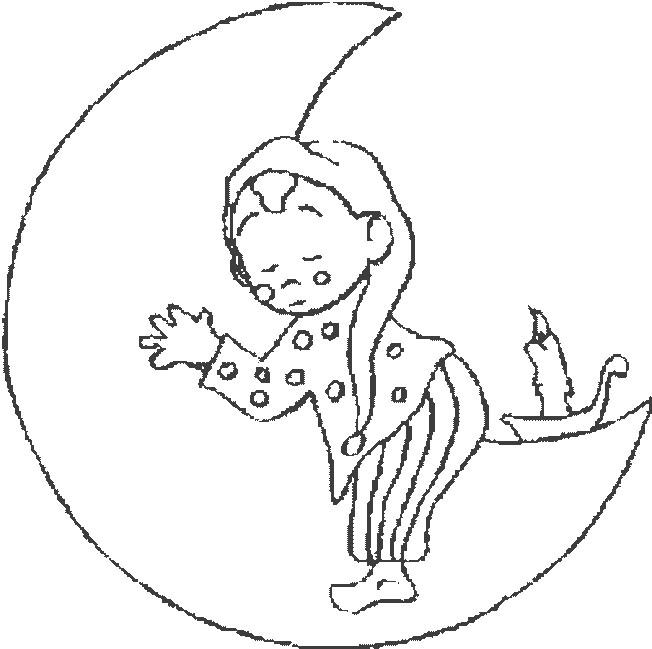 Coloriage et dessins gratuits Enfant dort sur La Lune à imprimer