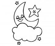 Coloriage Étoile heureuse au ciel