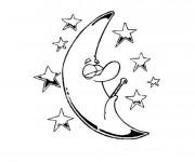 Coloriage et dessins gratuit Étoiles et la lune à imprimer