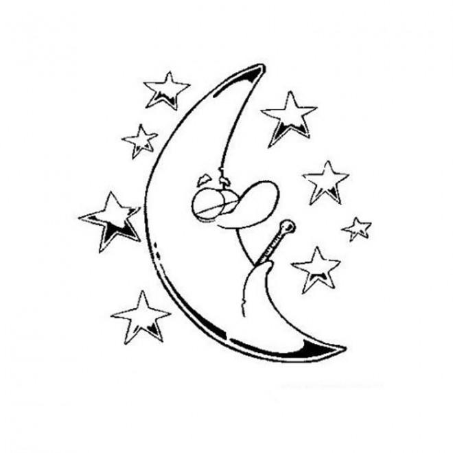 Coloriage toiles et la lune dessin gratuit imprimer - Coloriage etoile filante ...