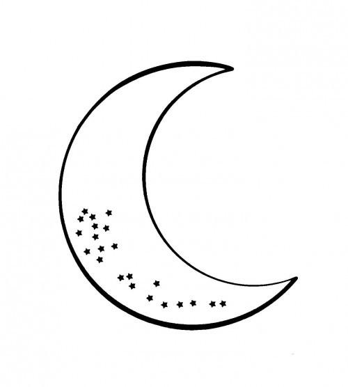 Coloriage et dessins gratuits La Lune en blanc à imprimer