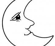 Coloriage et dessins gratuit Lune avec visage à imprimer