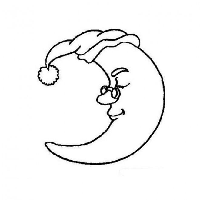 Coloriage et dessins gratuits Lune dormant à imprimer
