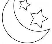 Coloriage Lune et Étoiles