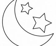 Coloriage et dessins gratuit Lune et Étoiles pour enfants à imprimer
