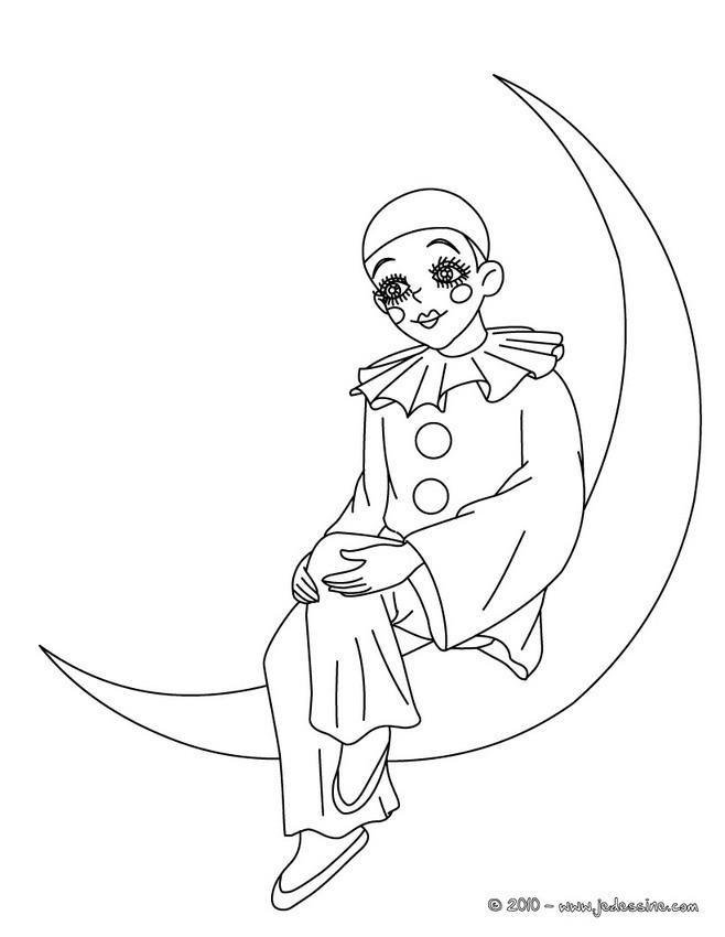 Coloriage et dessins gratuits Lune et le Clown à imprimer