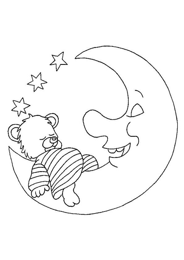 Coloriage et dessins gratuits Lune et Ours à décorer à imprimer