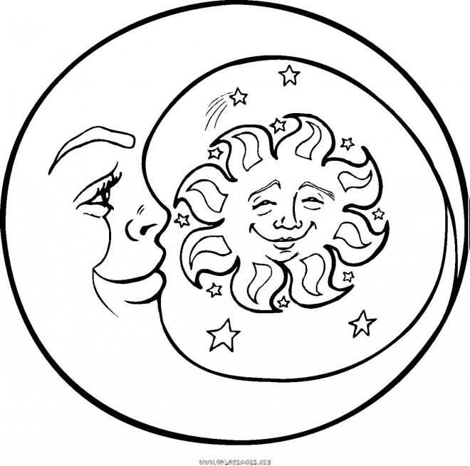 Coloriage et dessins gratuits Lune et Soleil à imprimer