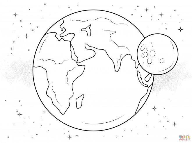 Coloriage Lune Et Terre Dessin Gratuit A Imprimer