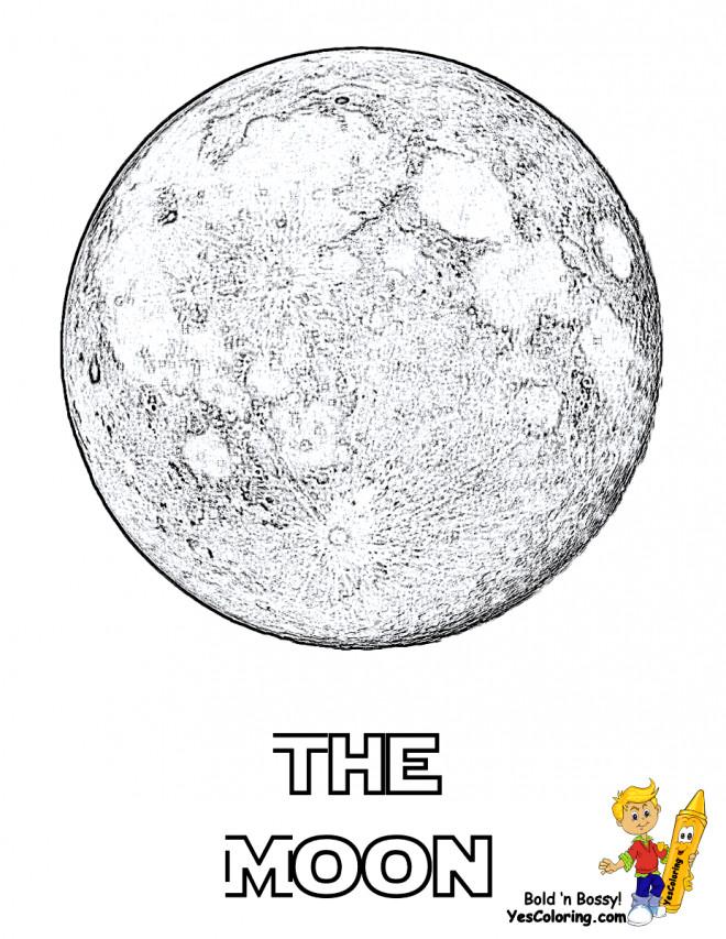 Coloriage et dessins gratuits Lune réaliste à imprimer