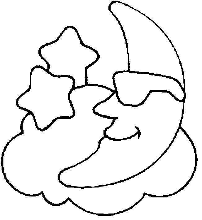 Coloriage Lune Sur Les Nuages Dessin Gratuit A Imprimer