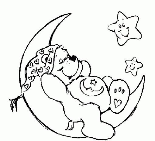 Coloriage et dessins gratuits Ours et La Lune à imprimer