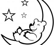 Coloriage Ours sur Le Croissant de Lune
